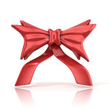 Red ribbon bow with tails Royalty Free Stock Images