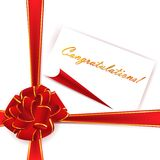 Red ribbon bow with template. Big red ribbon bow over white background with congratulations template Stock Photography