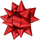 Red Ribbon Bow. Top view stock photos
