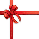 Red ribbon and bow vector illustration Stock Photos