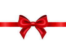 Red ribbon with bow. Vector illustration. Stock Photos