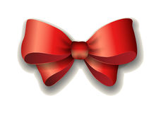 Red ribbon bow vector illustration  on white background. Royalty Free Stock Photos