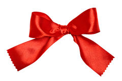 Red ribbon bow on white Stock Photo