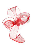 Red ribbon bow on a white background Stock Images