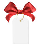 Red ribbon bow. On white background Stock Photos
