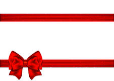 Red ribbon with bow on a white background.  Stock Photo