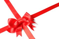 Red ribbon with bow on white. Festive decoration. Red ribbon with bow on white background. Festive decoration stock photography