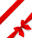 Red ribbon and bow  on white background. Gift package. There is in addition a vector format EPS 8 Stock Image