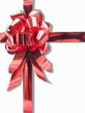 Red ribbon bow on white background Royalty Free Stock Photo