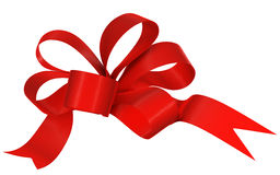 Red ribbon bow on white background. Image isolated Stock Photo