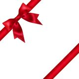Red ribbon bow on white background. Stock Photos