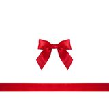 Red ribbon bow on white background. Stock Photography