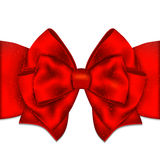 Red ribbon with bow on a white background. Vector illustration Stock Photography