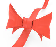Red ribbon with bow. On white. 3d rendered image Royalty Free Stock Photo
