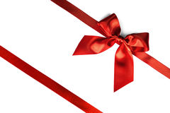 Red ribbon bow on white Royalty Free Stock Image