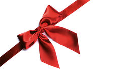 Red ribbon bow on white Stock Images