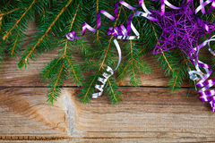 Red ribbon bow on wooden board Stock Photos