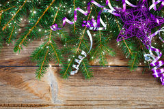 Red ribbon bow on wooden board Royalty Free Stock Photos