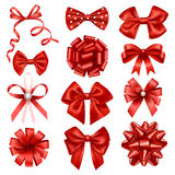 Red ribbon bows Stock Photos