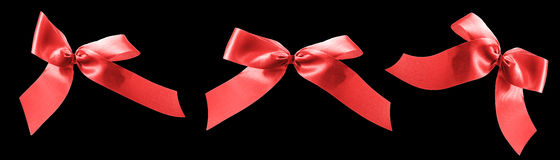 Red ribbon bows for valentines gifts Royalty Free Stock Photos