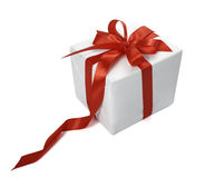 Red ribbon box present gift decoration Royalty Free Stock Photo