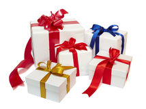Red ribbon box present gift decoration Royalty Free Stock Photos