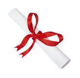 Red ribbon box present gift decoration Stock Photos
