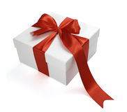 Red Ribbon Box Present Gift Decoration Royalty Free Stock Photography
