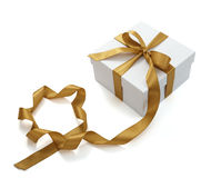 Red ribbon box present gift decoration stock images