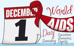Red Ribbon and Calendar with Date of World AIDS Day, Vector Illustration. Postcard with loose-leaf calendar and red ribbon with reminder date of World AIDS Day Stock Image