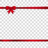 Card Red Ribbon Bow Cover Transparent. Red ribbon on the checked background Stock Images