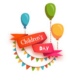 Red ribbon with Children Day title, balloons and Royalty Free Stock Photography