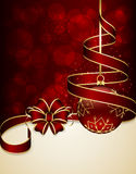 Red ribbon and Christmas ball Royalty Free Stock Images