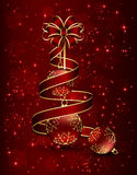 Red ribbon and Christmas balls Stock Photography