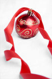 Red Ribbon Christmas Baubles Royalty Free Stock Images
