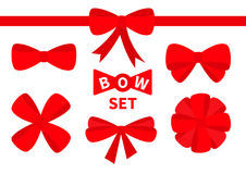 Red ribbon Christmas bow Big icon set. Decoration element for giftbox present. White background. Isolated. Flat design. Stock Photography
