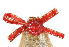 Red ribbon on Christmas kingle bell. Stock Photos
