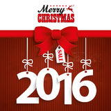 Red Ribbon Christmas Price Sticker 2016. Red ribbon with text Merry Christmas and 2016 Royalty Free Stock Photography