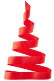 Red ribbon Christmas tree. Isolated on white Stock Image