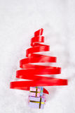Red ribbon Christmas tree Stock Images