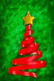 Red ribbon Christmas tree Royalty Free Stock Photos