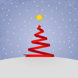 Red ribbon christmas tree. Stock Images