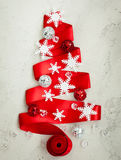 Red Ribbon Christmas Tree Stock Photos