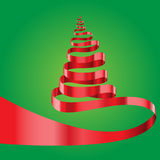 Red ribbon Christmas tree on green vector. Red ribbon Christmas tree on green background vector illustration Royalty Free Stock Photography