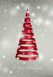 Red ribbon Christmas tree on silver background Royalty Free Stock Photos