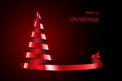 Red Ribbon Christmas tree Stock Photography