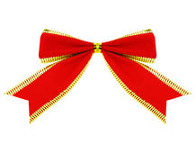 Red ribbon with clipping path. A red ribbon with golden trimmings. Clipping path included for easy extraction Royalty Free Stock Photo