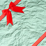 Red ribbon with corner bow Stock Images