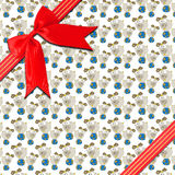 Red ribbon with corner bow Royalty Free Stock Image