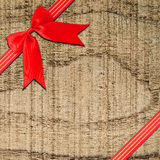 Red ribbon with corner bow Stock Photography